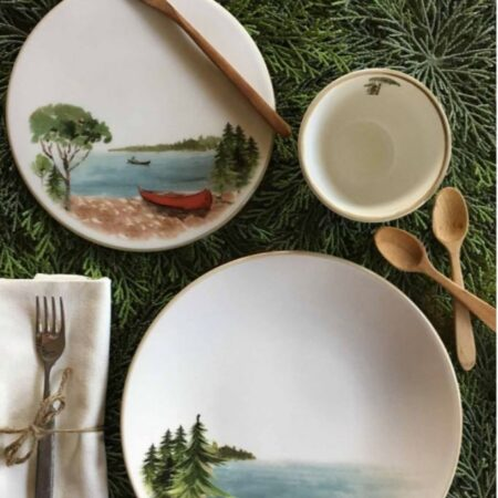 Italian Hand Painted Ceramics Canoe