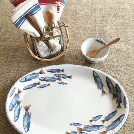 Italian hand painted Ceramics School of Fish