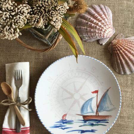 Italian Hand Painted Ceramics Sailboat